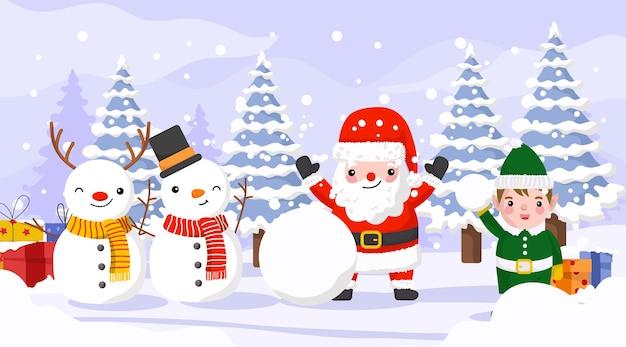 Pupazzo di neve ed elfo che celebrano il natale