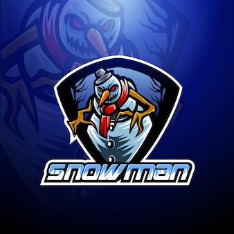 Modello di logo mascotte esport pupazzo di neve Vettore Premium