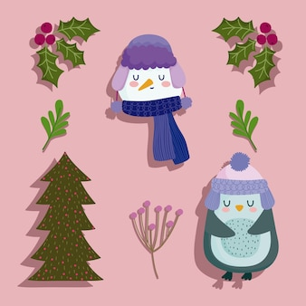 Pupazzo di neve faccia albero di pinguino e bacche di agrifoglio