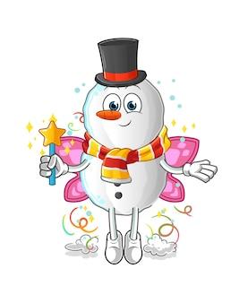 Fata pupazzo di neve con ali e mascotte dei cartoni animati di bastone