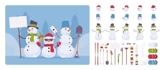 Set di caratteri figura pupazzo di neve