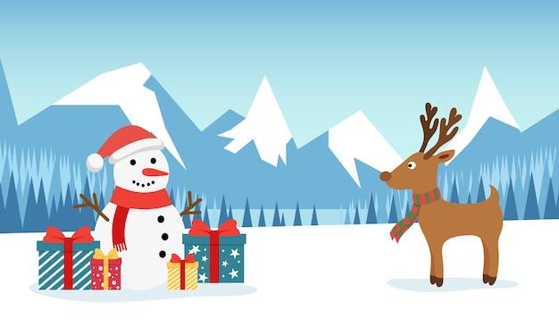 Pupazzo di neve e cervi divertenti, paesaggio montano invernale. illustrazione di natale.