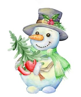Pupazzo di neve, in un cappello, che tiene un albero di abete, in stile cartone animato. illustrazione dell'acquerello, per natale