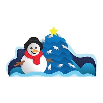 Illustrazione di inverno del pupazzo di neve ciao Vettore Premium