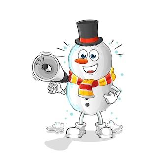 Pupazzo di neve che tiene il personaggio dei cartoni animati di altoparlanti a mano