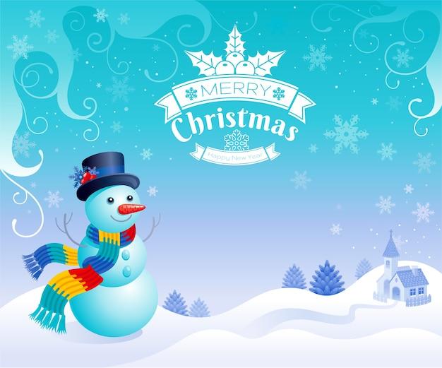 Cartolina d'auguri di buon natale pupazzo di neve con sfondo paesaggio simpatico cartone animato. uomo di neve in cappello e sciarpa.