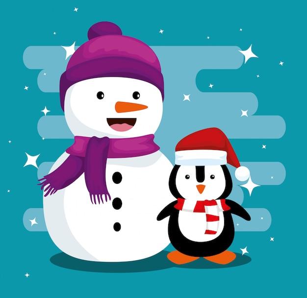 Pupazzo di neve e pinguino che indossa cappello e sciarpa per natale