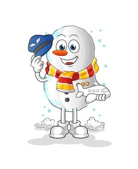 Fumetto della mascotte pilota del pupazzo di neve