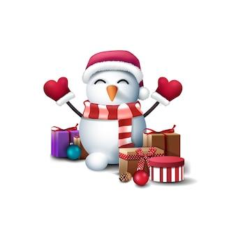 Pupazzo di neve in cappello di babbo natale, guanti e sciarpa a righe con doni isolati su sfondo bianco