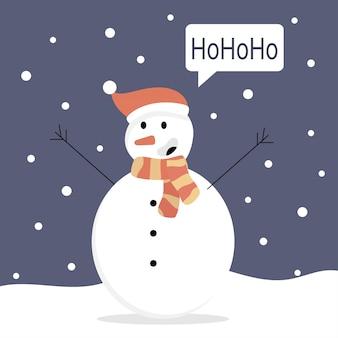 Il pupazzo di neve dice hohoho per natale