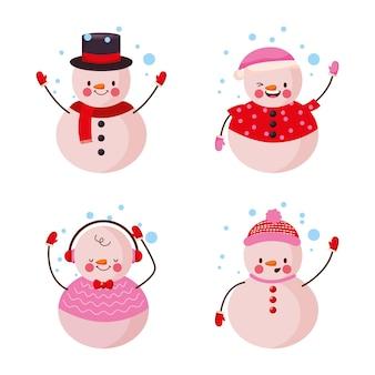 Pupazzo di neve con fiocchi di neve isolati .vector illustration