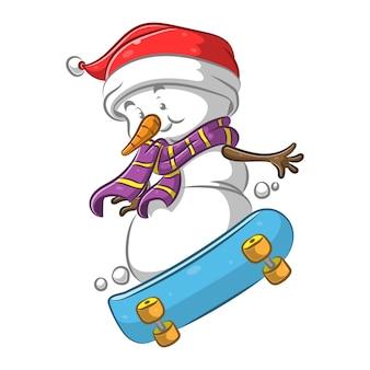 Pupazzo di neve con la sciarpa viola che gioca con lo skateboard