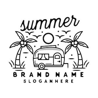 Pupazzo di neve con albero di natale monoline vintage outdoor logo design