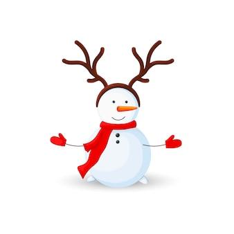 Pupazzo di neve con corna di cervo su sfondo bianco