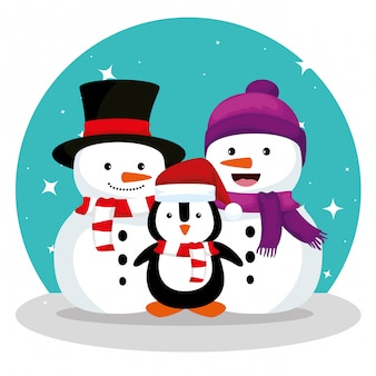 Pupazzi di neve e pinguino che indossano cappello e sciarpa design