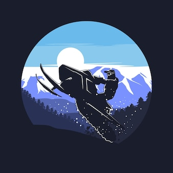 Grafica silhouette motoslitta