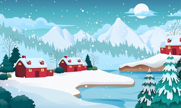 Illustrazione di paesaggio invernale del lago innevato con montagna, case, albero di abete rosso, concetto di legno morto
