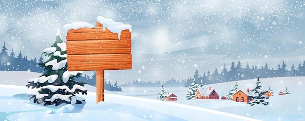 Paesaggio innevato e cartello in legno vettore paesaggio natalizio villaggio nella foresta di neve e abeti