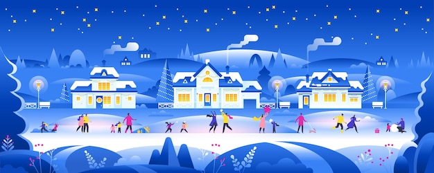 Notte di neve con persone nel panorama della città accogliente città