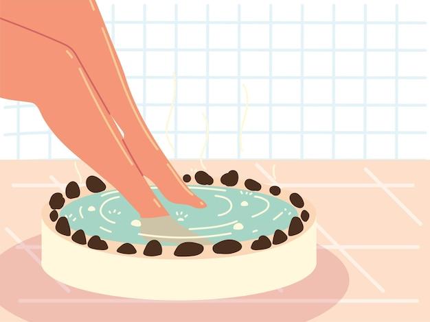 Immergere i piedi nella spa