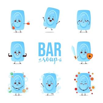 Mascotte del fumetto del carattere dell'illustrazione della barra di sapone