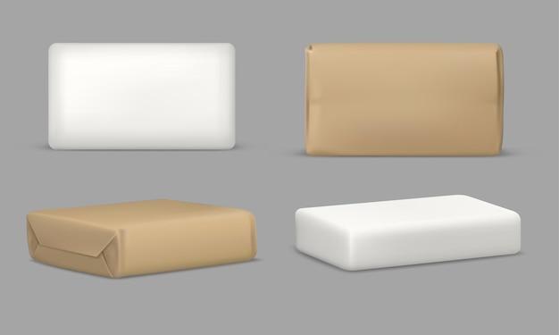 Saponetta e confezione, templatel realistico rettangolare. saponetta bianca in involucro di carta marrone.