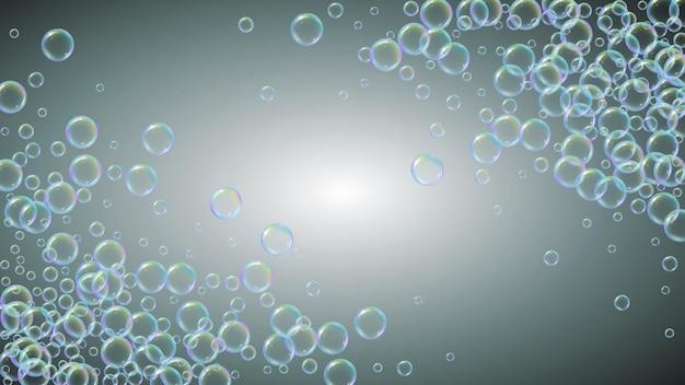 Bolla di sapone. bagnoschiuma detergente e schiuma per vasca da bagno. shampoo. disposizione dell'illustrazione di vettore 3d. effervescenza e spruzzi minimi. cornice e bordo dell'acqua realistici. bolla di sapone liquido colorato grigio.