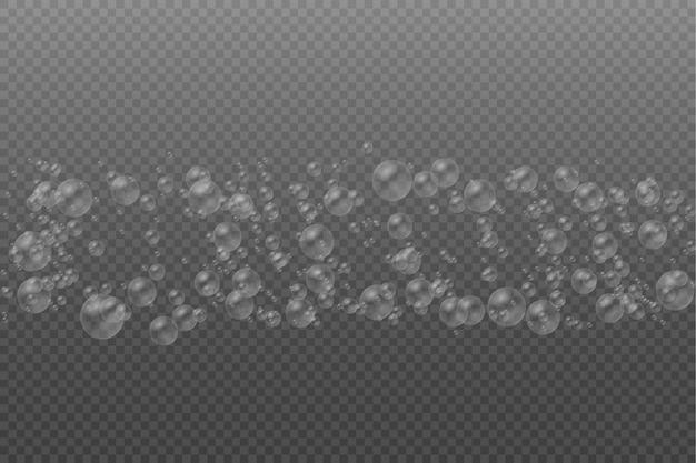 Set di bolle di sapone di bolle d'acqua bianche colorate realistiche trasparenti con riflesso