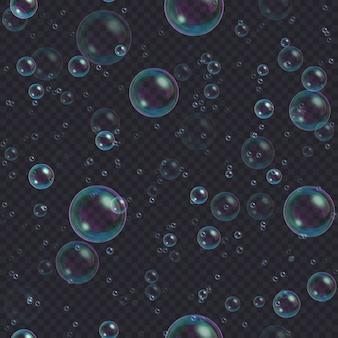 Bolle di sapone sfondo trasparente. shampoo galleggiante astratto, modello schiuma da bagno.