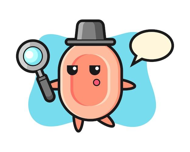 Personaggio dei cartoni animati di sapone alla ricerca con una lente d'ingrandimento, stile carino per maglietta, adesivo, elemento logo