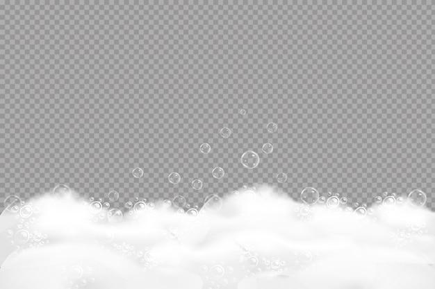 Schiuma di sapone sovrastante sullo sfondo di un colore dell'acqua blu. cornice trasparente.