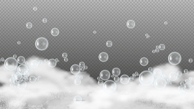 Schiuma di sapone. schiuma bianca, bolle d'acqua lucide. shampoo o gel doccia schiuma isolato su sfondo trasparente