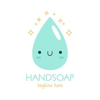 Modello di logo di sapone con goccia d'acqua