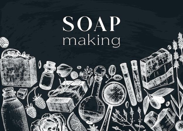 Design del telaio degli ingredienti per la produzione di sapone sulla lavagna