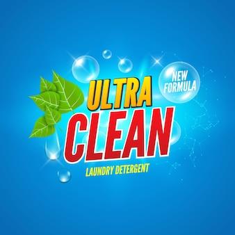 Design della confezione di sapone. lavare sfondo di sapone. banner di design pacchetto detersivo per bucato. polvere per lavare i vestiti. potente prodotto fresco alla menta.
