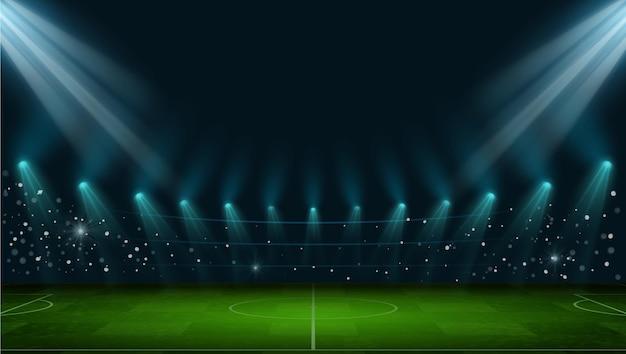 Arena di calcio. stadio di calcio europeo realistico con campo in erba, luci e faretti. scena notturna di vettore del campo da giuoco del gioco di sport della palla 3d. illustrazione europea dello stadio realistico dell'arena