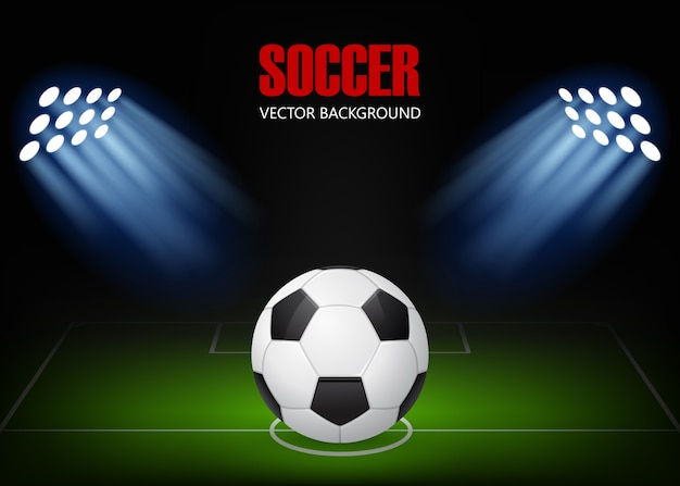 Sfondo di calcio - palla sul campo, illuminata da riflettori.