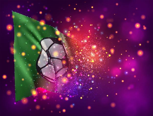 Pallone da calcio, bandiera 3d su sfondo viola rosa con illuminazione e razzi