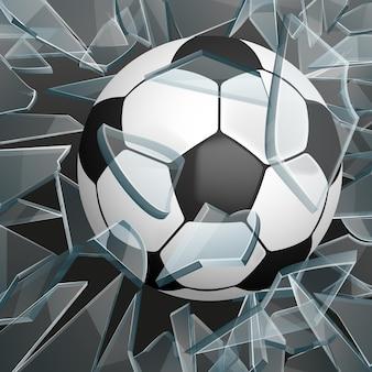 Pallone da calcio che rompe il vetro. palla per sport di gioco, palla per calcio o calcio
