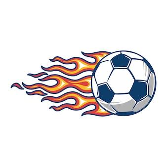 Pallone da calcio in fiamme di fuoco ardente