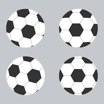 Insieme di clip art del pallone da calcio isolato.