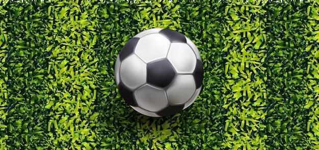 Disegno del pallone da calcio su sfondo di erba verde, illustrazione vettoriale. banner di erba verde vettoriale, illustrazione vettoriale.