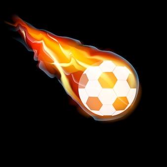 Pallone da calcio nel fuoco