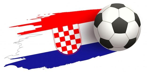 Mosca del pallone da calcio su fondo della bandiera croata