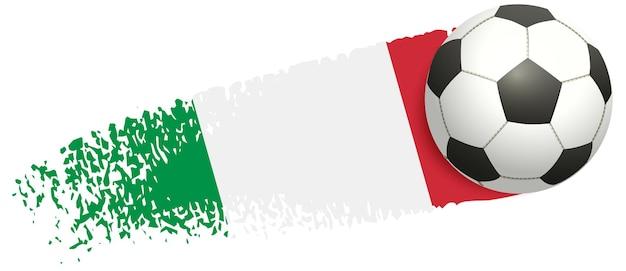 Pallone da calcio che vola sullo sfondo del campionato europeo di calcio della bandiera italiana