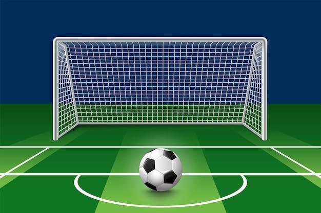 Pallone da calcio sul campo verde davanti al palo della porta. stadio di calcio di associazione sportiva