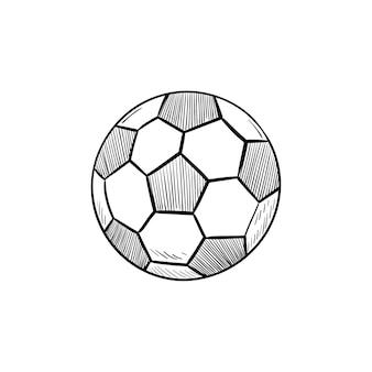 Icona di doodle di contorni disegnati a mano di pallone da calcio. competizione di calcio, attrezzatura da calcio, concetto di palla da gioco