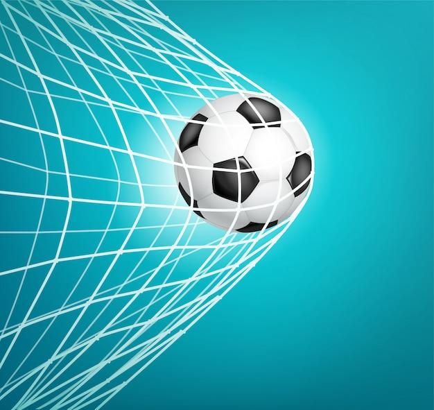 Pallone da calcio in rete. obbiettivo