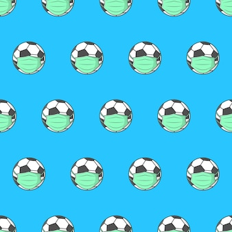 Pallone da calcio in maschera medica senza cuciture su sfondo blu. illustrazione del tema del calcio