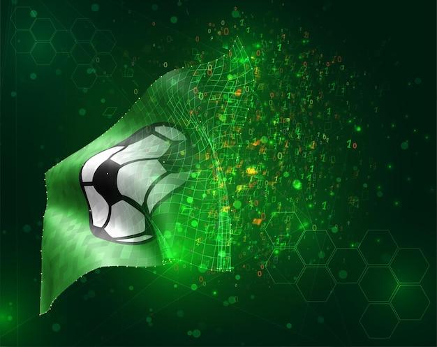Bandiera 3d di vettore di pallone da calcio su sfondo verde con poligoni e numeri di dati
